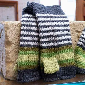 green and white stripy knitted mittens