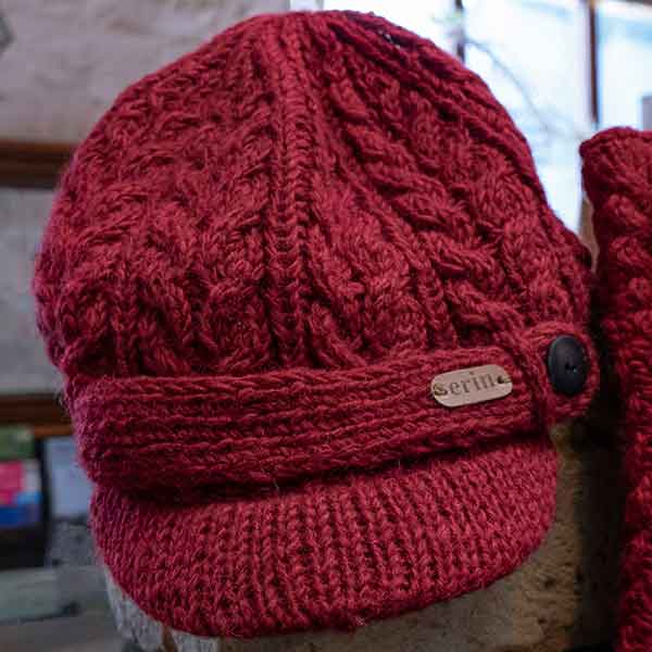 maroon cable knit peeked cap with button