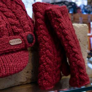 maroon cable knit mittens and matching hat set