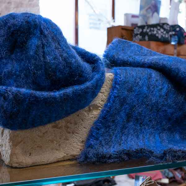 royal blue soft woven mohair hat and scarf set