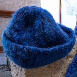 royal blue soft woven mohair hat