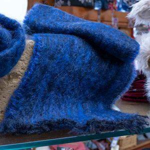 royal blue soft woven mohair scarf