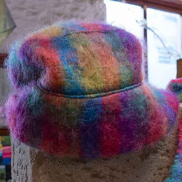 rainbow colour soft mohair woven hat