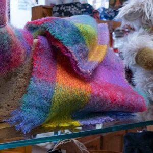 rainbow colour woven mohair scarf