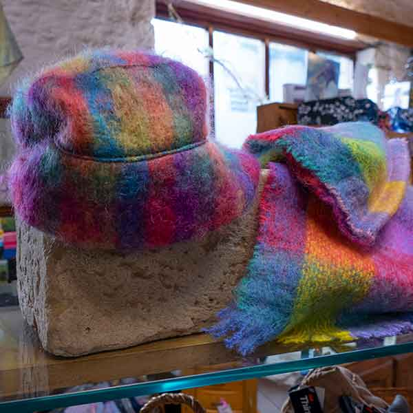 rainbow colour soft mohair hat and scarf set