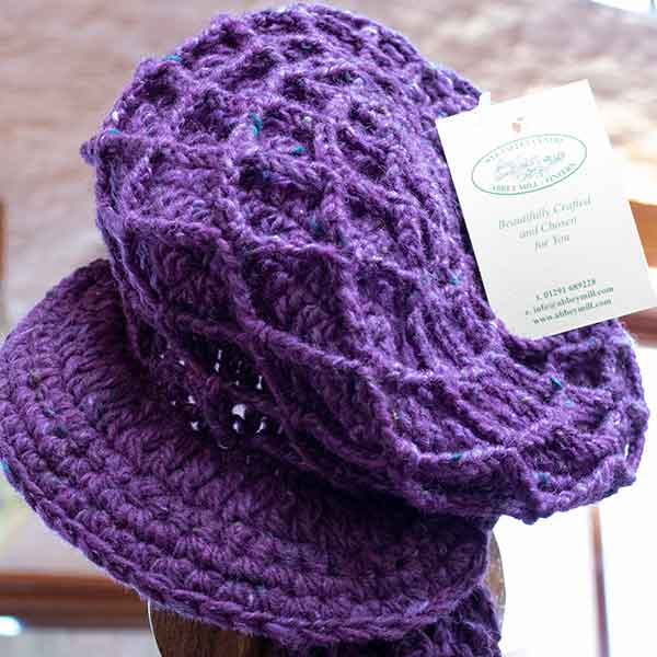 chunky knitted purple cap
