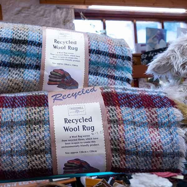 blue and red recycled plaid wool rugs