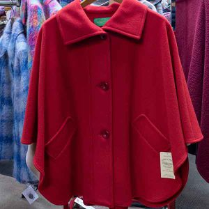 single colour red wool cape with pockets