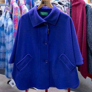 Single colour royal blue wool cape with pockets