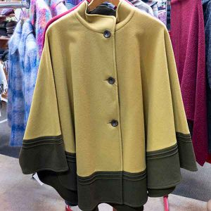 duo colour sienna and olive wool cape with buttons