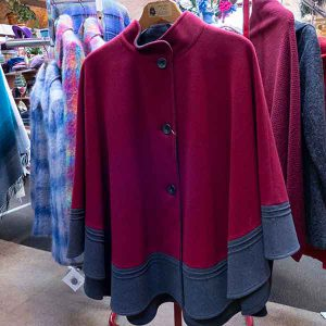 duo colour ruby and grey wool cape with buttons