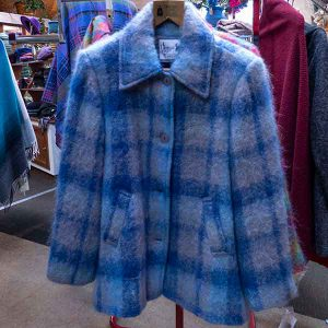 blue shades plaid mohair jacket with pockets