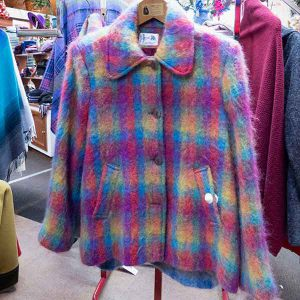 pink, yellow and blue plaid mohair jacket with pockets
