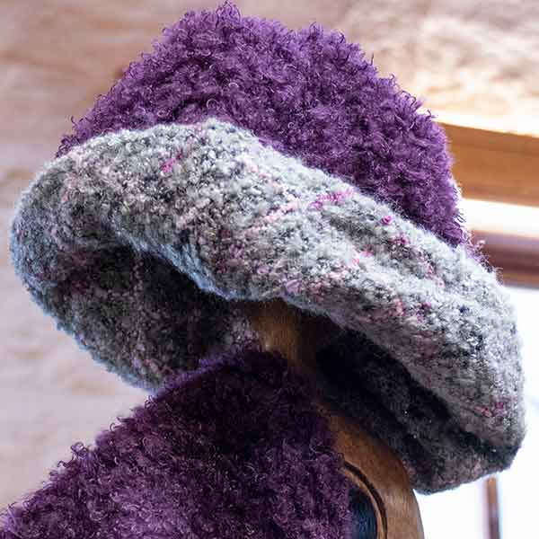 mauve and grey reversible knitted boucle hat