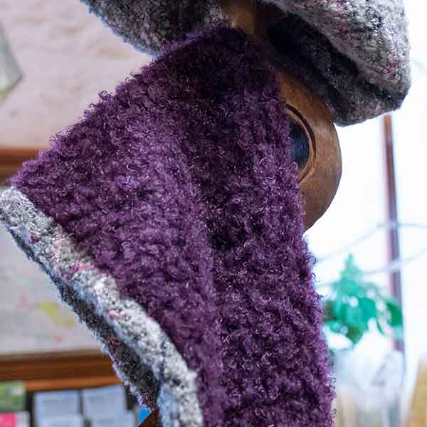mauve and grey reversible knitted boucle scarf and hat