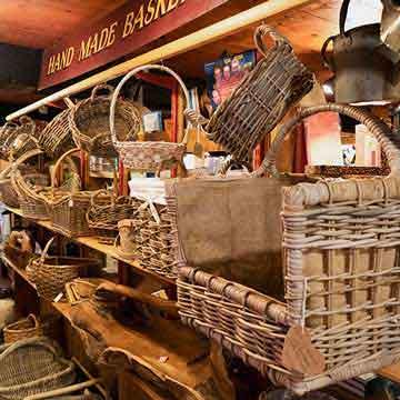 cider press hand made log and display basketry