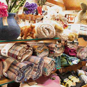 mill shop rugs, throws and knitwear