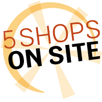 5 shops on site logo in yellow