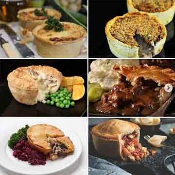 six pie box selections cut to show their delicious fillings