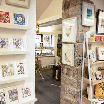 boat house colourful badge cards and framed bird prints