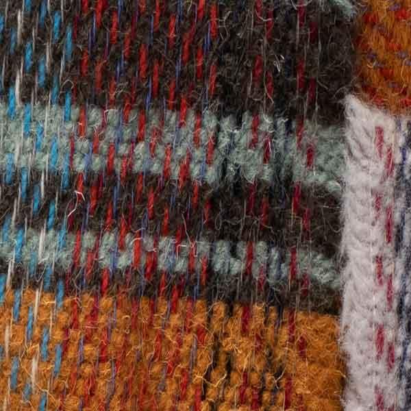 weave detail recycled plaid wool rug
