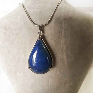 Polished Lapis Lazuli drop pendant in sterling silver setting