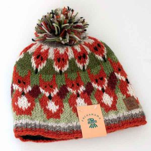 red fox pattern knitted bobble hat