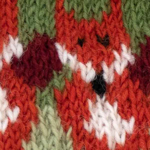 red fox pattern knitted bobble hat design detail