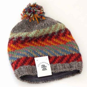 grey and orange knitted chevron bobble hat