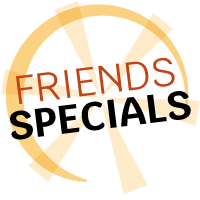 friends specials logo in yellow with orange text