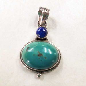 turquoise and lapis lazuli pendant in sterling silver setting