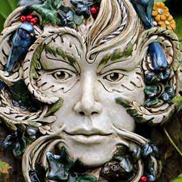 woodland studio goddess ceramic mask with foliage and flowers