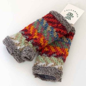 grey and orange knitted chevron mittens