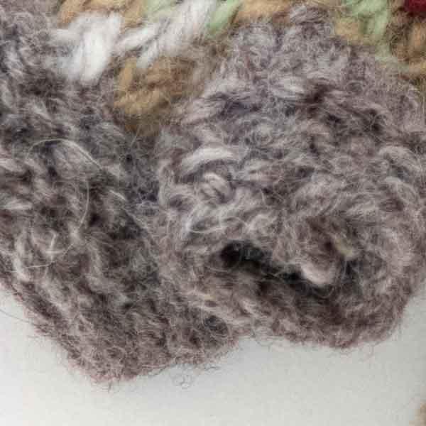 grey and orange knitted chevron mitten finger detail