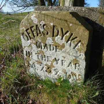 carved stone marking Offas dyke, wye valley walks