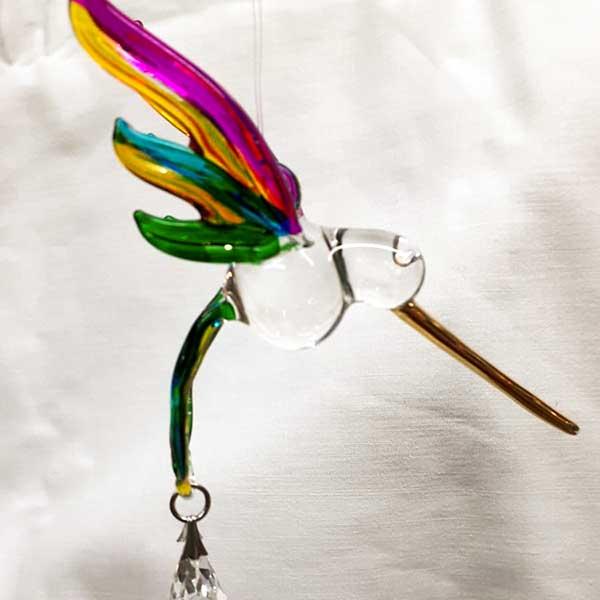 hummingbird rainbow coloured glass light catcher and hanging crystal