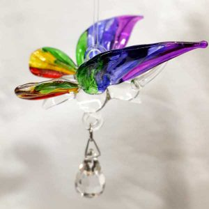 butterfly rainbow coloured glass light catcher and hanging crystal