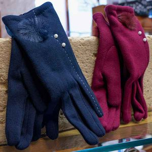royal blue or cerise tailored gloves with pompon and pearls