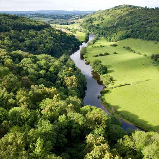 River Wye and surrounding hills and woodland on Wye valley walks