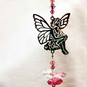 fairy silhouette hanging pink glass light catcher