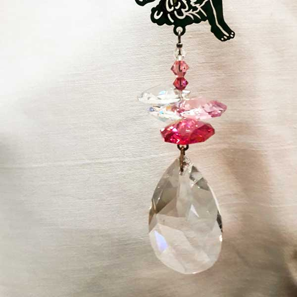 fairy silhouette hanging pink glass light catcher droplet detail