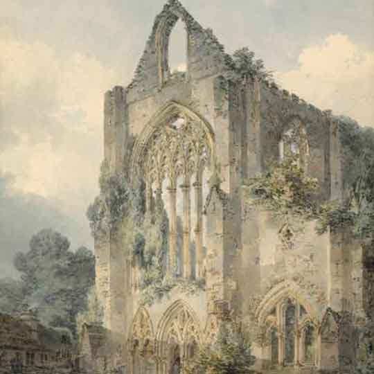 picturesque style painting of Tintern Abbey by J.M.W.Turner