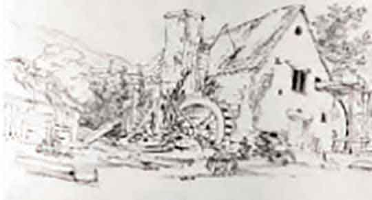 pen and ink of abbey mill and water wheel and Angidy Valley