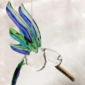 hummingbird purple glass light catcher and hanging crystal
