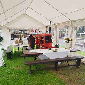 functions and catering marquee and tractor