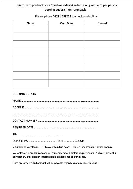 Christmas menu 2020 form details