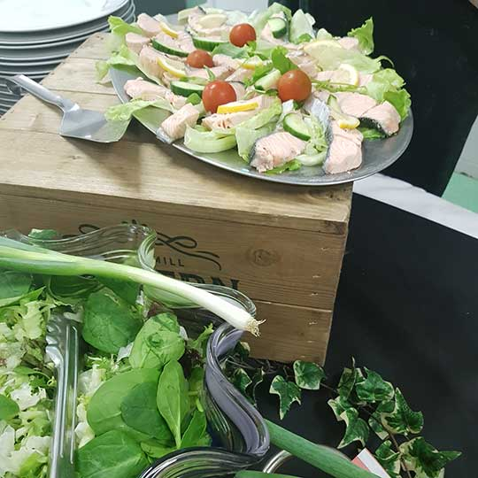 fresh salmon platter green salad at outside catering for funerals and wakes