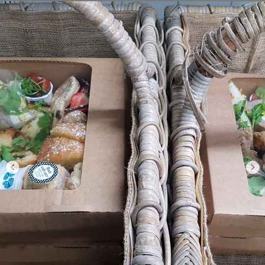 Afternoon Tea Boxes in wicker baskets ready to deliver