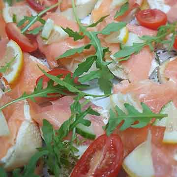 Outside Catering salmon and fresh rocket salad platter